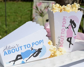 Personalized About to Pop Popcorn Boxes (15 Pk) Baby Boy Favor | Baby Girl Favor | Girl with Umbrella Popcorn Box | Baby Shower Favor