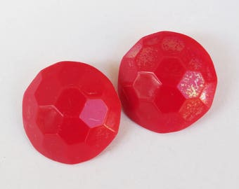 1980's VINTAGE Signed HONG KONG Cherry Red Faceted Button Clip Earrings