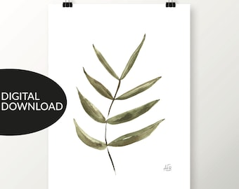 """Nature Leaf Print, """"Subtle Sway,"""" Watercolor Art Print, Green Tones, Instant Download, Printable for Personal Use, Earthy Decor, Botanical"""