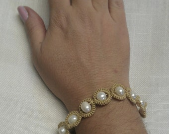 Hand Knotted Tatted Bracelet With Freshwater Pearls