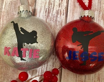 Karate Ornament, Karate Christmas Ornament, Martial Arts Ornament, Girl Karate, Personalized Karate Ornament