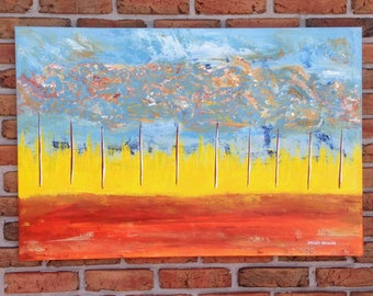 "ORiGiNAL 36 x 24 Landscape ABSTRACT  -""Mountains in the SKY""  original Acrylic Paint on canvas   -  36"" X 24""   (# 17-0824)"