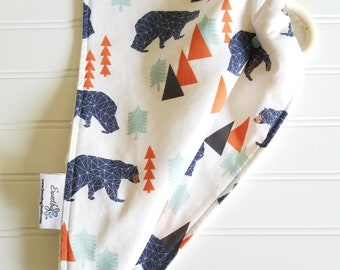 Teething Blanket,Lovey,Security Blanket,Teether/SPOONFLOWER fabric/Organic Cotton Sherpa