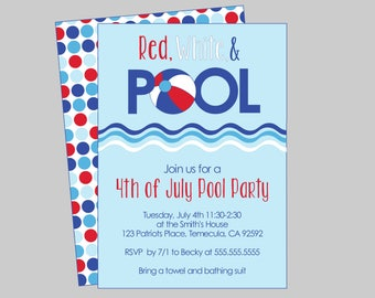 Red White & Pool 4th of July Pool Party Invitation. Printable Digital Invitation. 4th of July Party, BBQ, Pool Party,  Birthday Party