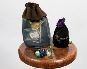 Dé en cuir grand sac rpg gamer gobelin monstre broderie GN pochette am donjons dragons geek nerd cadeau costume accessoire pathfinder