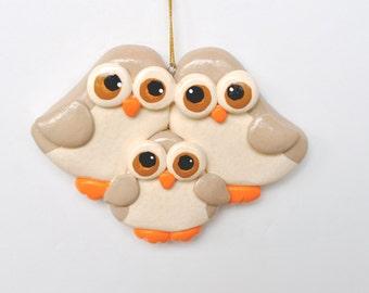 RETIRING DESIGN...Personalized Owl Family of 3 Christmas Ornament/ Owl/ Family