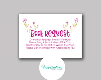 Book Request Card for Baby Shower / Matching Pink Giraffe