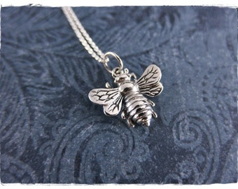 Silver Bumble Bee Necklace - Sterling Silver Bumble Bee Charm on a Delicate Sterling Silver Cable Chain or Charm Only