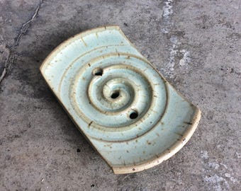 SOAP dish green ceramic for a side piece with spiral