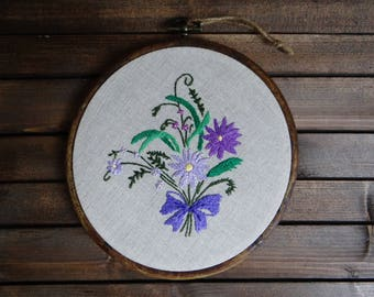 Purple bouquet embroidery hoop, Hand embroidered wall hanging, Botanical wall art, Flower home decor, Hand stitched hoop, Housewarming gift