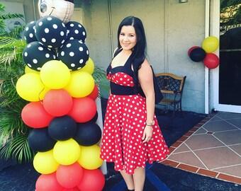Christmas Dress Disney Dress Mickey Mouse Costume Minnie Mouse Dress Red Polka Dot Dress Rockabilly Dress Pin Up Dress Birthday Party Dress