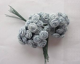floral - flowers 36 buttons art blue paper roses 3091