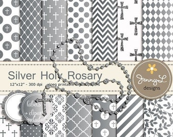 50% OFF Silver Rosary Baptism Digital Papers and Clipart, First Communion, Confirmation, Christening, Dedication, Holy Week Scrapbooking, Gl