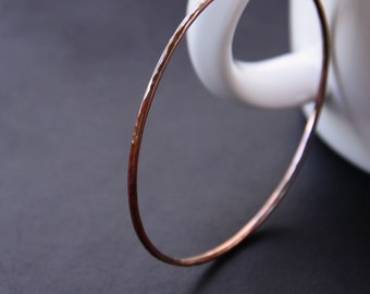 """Hammered copper bangle heat treated for a multi colored unique look with red and brown hues - """"Desert Bangle"""""""