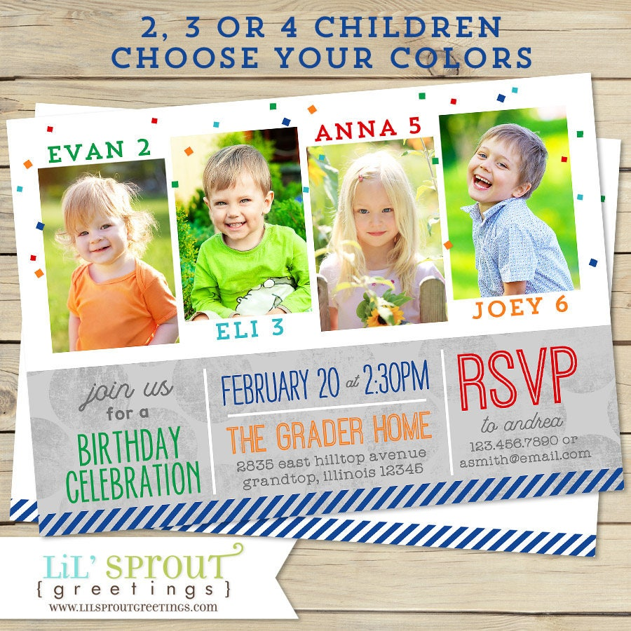 Joint Birthday Invitation Gender Neutral Boy Or Girl Two