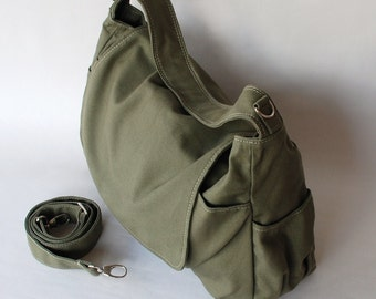 Etsy's 13th Birthday Sale 25% - Messenger Bag, Dark Green, Shoulder Bag, Women, Canvas School bag, crossbody bag, Handbag