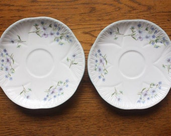 SALE - Two Vintage Shelley Bone China Saucers ~ Blue Rock pattern ~ Replacement China