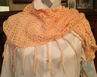 Spring/summer peach color shawl or scarf