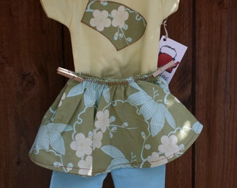 Onesie and Circle Skirt Leggings- Amy Butler Trailing Cherry Green 3-6 months