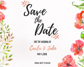 Red Poppies Watercolor Save the Date