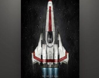 """Battlestar Gallactica Inspired """"Viper: Husker"""" Art Print by Herofied William """"Bill"""" Adama's Viper"""