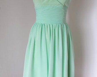 2015 Halter Mint Chiffon Short Front Long Back Bridesmaid Dress