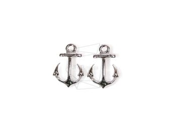 PDT-1177-R/4Pcs-Mini Anchor Pendant/ 11mm x 16mm/Rhodium Plated Over pewter