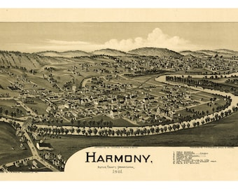 Harmony, Butler County, Pennsylvania. Antique Birdseye Map; 1901