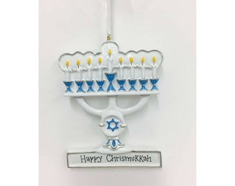 Menorah Personalized Ornament / Blue and White Menorah Ornament / Blended Family Ornament / Hannukah and Christmas / Judaica