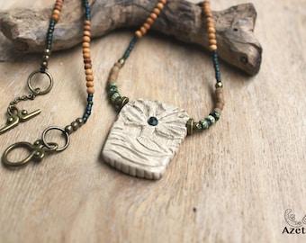 Ethnic • sacred tree necklace Terra cotta • Emerald • Jasper green Miyuki sandalwood jewelry Bohemian jewelry • • • • • artisan necklace