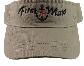 Nautical Red Star Anchor First Mate Embroidery on a Khaki Beige Unisex Adjustable Visor Cap for the Boating Enthusiast