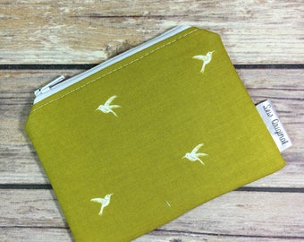 Coin Pouch, Change Purse, Coin Purse, Chartreuese Fabric, Mustard Fabric, Bird Fabric, Zipper Pouch, Mothers Day, ID Wallet, Card Wallet