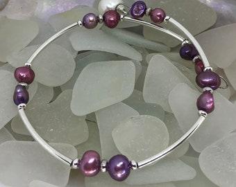 Pearl wire wrist wrap bracelet