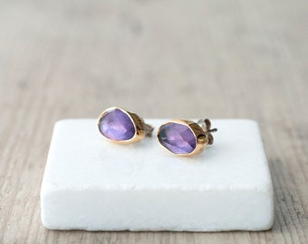Amethyst Gold Earrings, Sterling Silver 22K Gold Purple Gemstone Stud Earrings, Amethyst Jewelry, February Birthstone Earrings Gift for Her