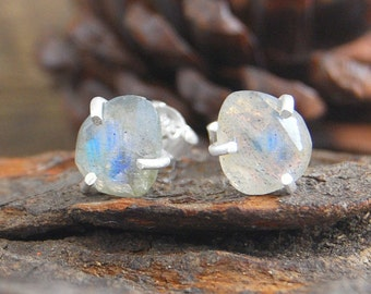Labradorite Earrings, Labradorite Studs, Studs, Silver Stud Earrings, Boho Earrings, Simple Earrings, Gemstone Earrings, Natural Stone