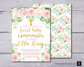 First Holy Communion Invitation, First Holy Communion Invite, 1st Holy Communion Invitation, Girl's First Holy Communion Invite Printable