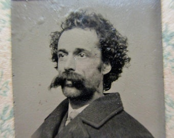 antique miniature gem tintype photo - 1800s, man with curly hair, big moustache