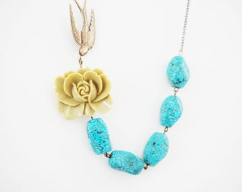 Turquoise Necklace Olivine Necklace Flower Necklace Bridesmaid Jewelry Bridesmaid Gift Statement Necklace Wedding Necklace Bridal Necklace