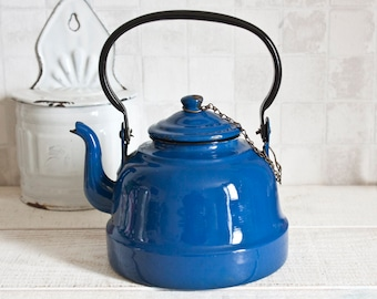 Mid Century Blue Enamel Kettle || French Vintage Coffee Pot or Teapot - Retro Home Decor