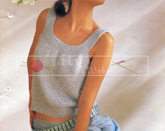 "Lady's Summer Top 30-40"" DK Sirdar 7089 Vintage Knitting Pattern PDF instant download"