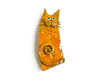 Cat pin, Cat Brooch named YVAN, cat lovers gift, orange polymer clay cat pin Animal brooch collectible cat for her, Valentine gift for women