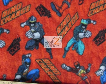 "Power Rangers Dino Charge By Springs Creative Fleece Printed Fabric - 60"" Width Sold By The Yard (840)"