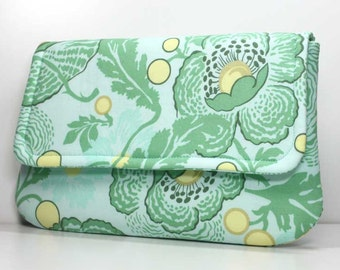 SALE - Clutch Purse - Yellow and Green Flowers and Leaves with 2 Pockets - Amy Butler Fresh Poppies Fabric - Ready to Ship