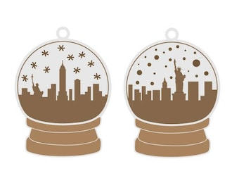 Snowglobe new york city nyc Christmas Cuttable Design SVG PNG DXF & eps Designs Cameo File Silhouette