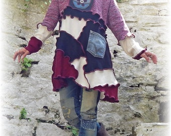 Russian Doll Sweater, Unique Tunic, Matryoshka Jumper, Hippie Jumper, Whimsical Dress, Unique Clothing, Recycled, Upcycled, Medium Large