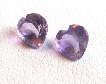 4mm Matched Pair Amethyst Heart Shaped Loose Gemstones of .44 Ctw