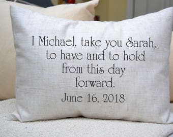Personalized pillow Bride & Groom Gift, Cotton Anniversary, Newlywed pillow, Wedding vows, kneeling pillow, wedding anniv., 2nd anniversary