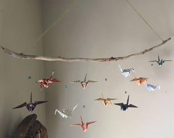 Large Origami Paper Crane Mobile//Handmade//Eleven Little Birds Hanging Mobile