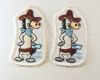 Quick Draw McGraw Iron On Applique - Vintage Embroidered Patch - Hanna Barbera Cartoon Character