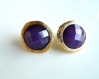 Eggplant Plum Grape Purple Gold Bezel Faceted Round Post Stud Earring Bridesmaids Holiday Gifts For Her 115
